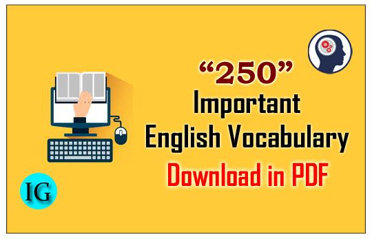 """250"""" Important English Vocabulary Reference """"The Hindu"""" for"""