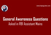 General Awareness Questions asked in RBI Assistant Mains