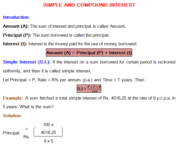 Simple Interest Shortcuts Pdf Simple Interest and Compound