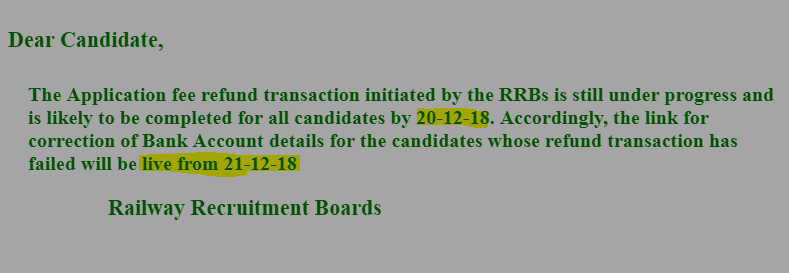 RRB ALP Fee Refund