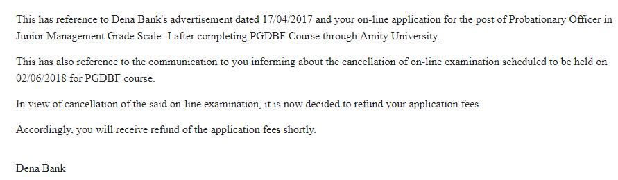 Dena Bank PO Application Fee