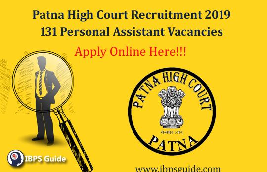 Patna High Court Personal Assistant Recruitment 2019 Apply