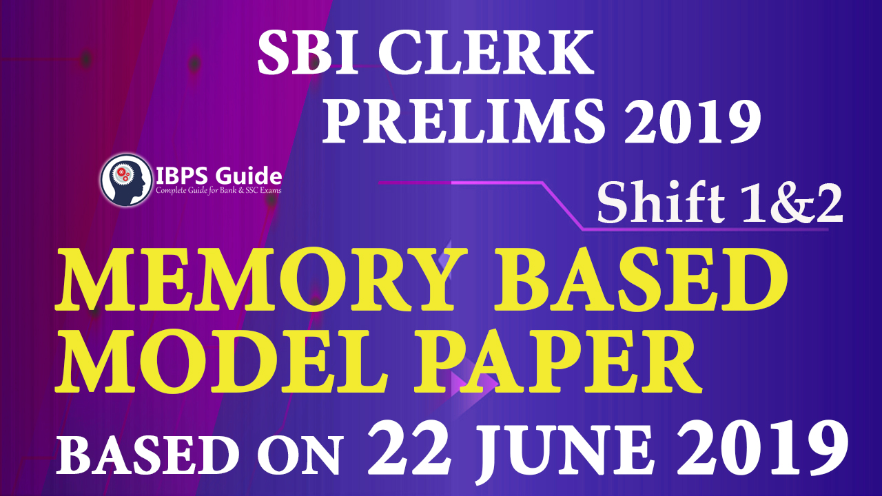 SBI Clerk Prelims Memory Based Model Questions 2019 PDF