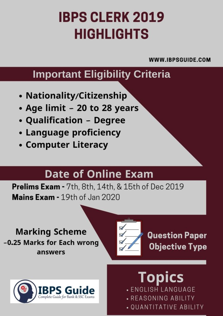 IBPS Clerk 2019 Notification pdf - Apply Online, Vacancy