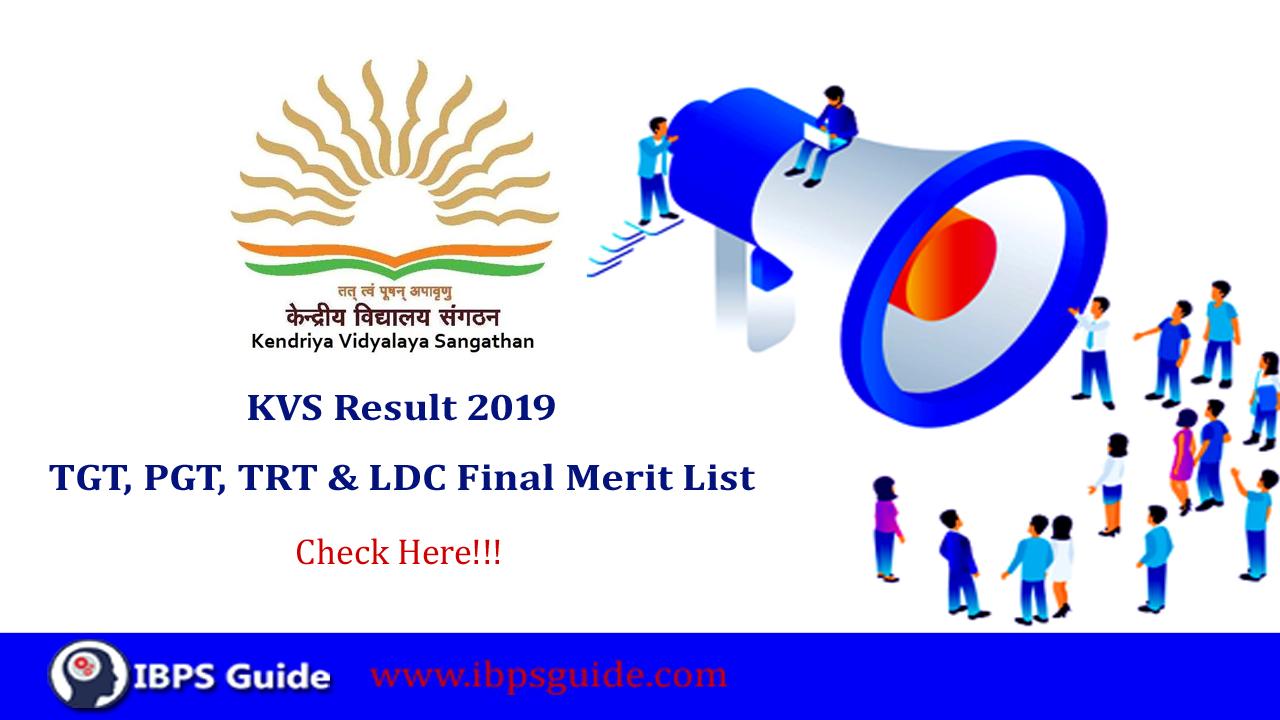 KVS Result 2019: KVS Final Merit List for TGT, TRT, PRT