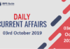 Current Affairs Today 03rd October 2019 | Current Affairs News