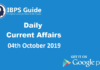 Current Affairs Today 04th October 2019 | Current Affairs News