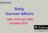 Current Affairs Today 06th, 07th & 08th October 2019 | Current Affairs News