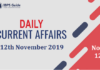 Current Affairs Today 12th November 2019 | Current Affairs News