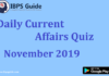 Daily Current Affairs Quiz – 10th & 12th November 2019