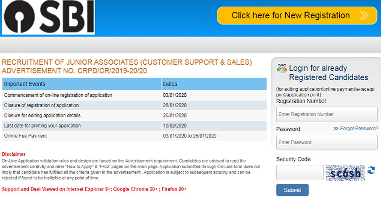 online application sbi clerk 2019