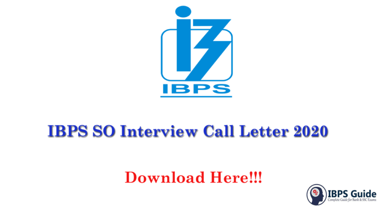 IBPS SO Interview Call Letter 2020 | Download Specialist Admit Card