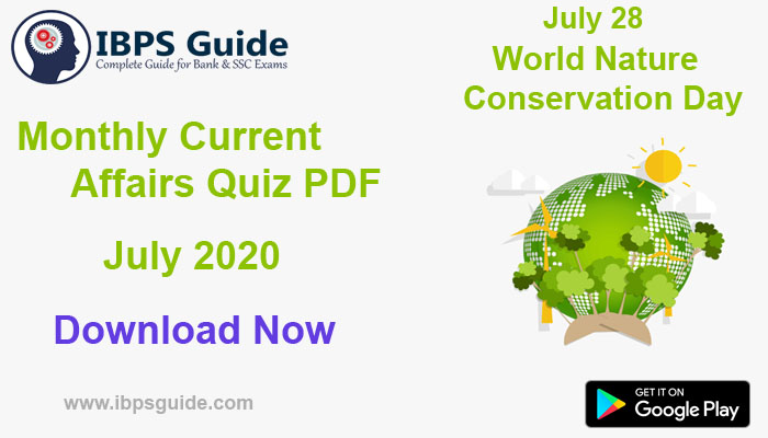 Monthly Current Affairs Questions July 2020 – Download in PDF