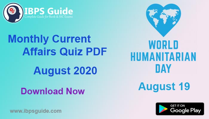 Monthly Current Affairs Questions August 2020 – Download in PDF