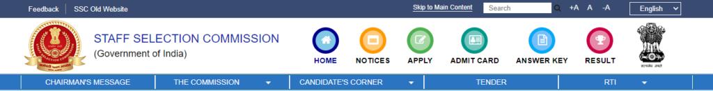 result tab on ssc website