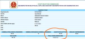 SSC CPO Score Card