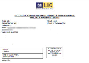 lic assistant admit card