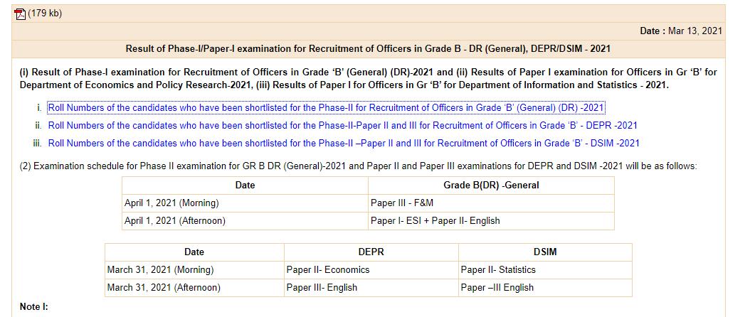 RBI Grade B Exam Date 2021