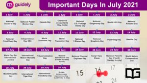 July Month Important Days List