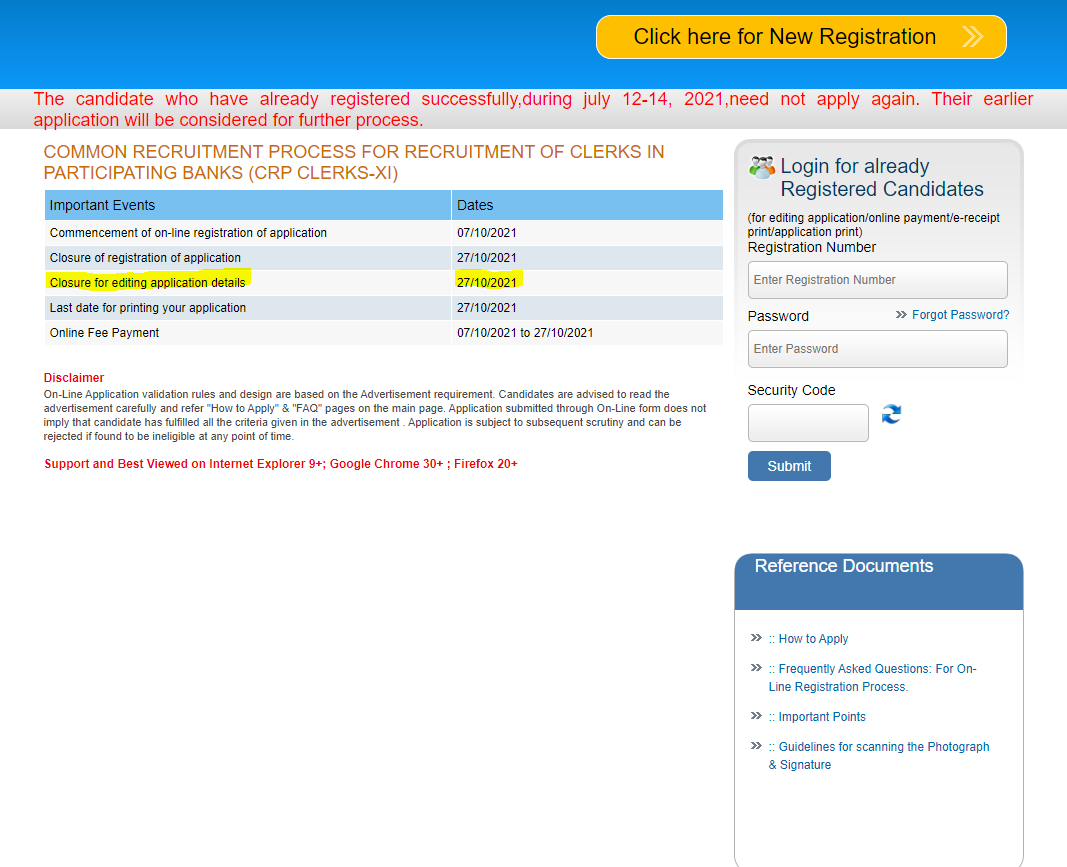 How to Edit IBPS Clerk Application Form After Payment