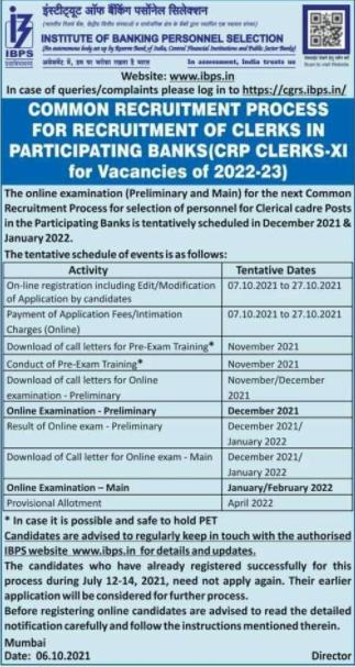 IBPS Clerk 2021 Notification